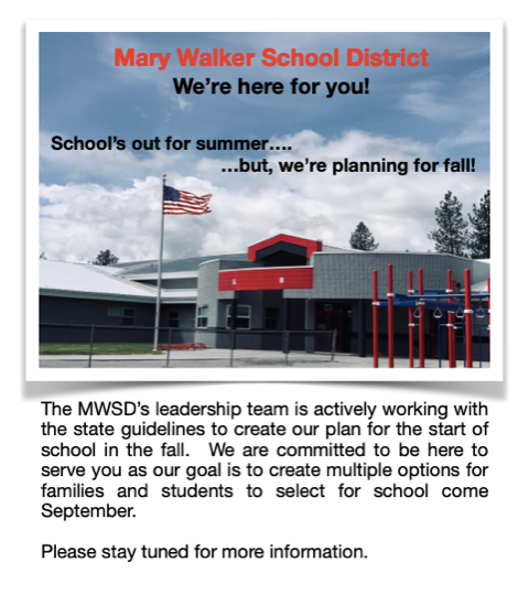 MWSD is actively working with state guidelines to create our plan for the next school year.